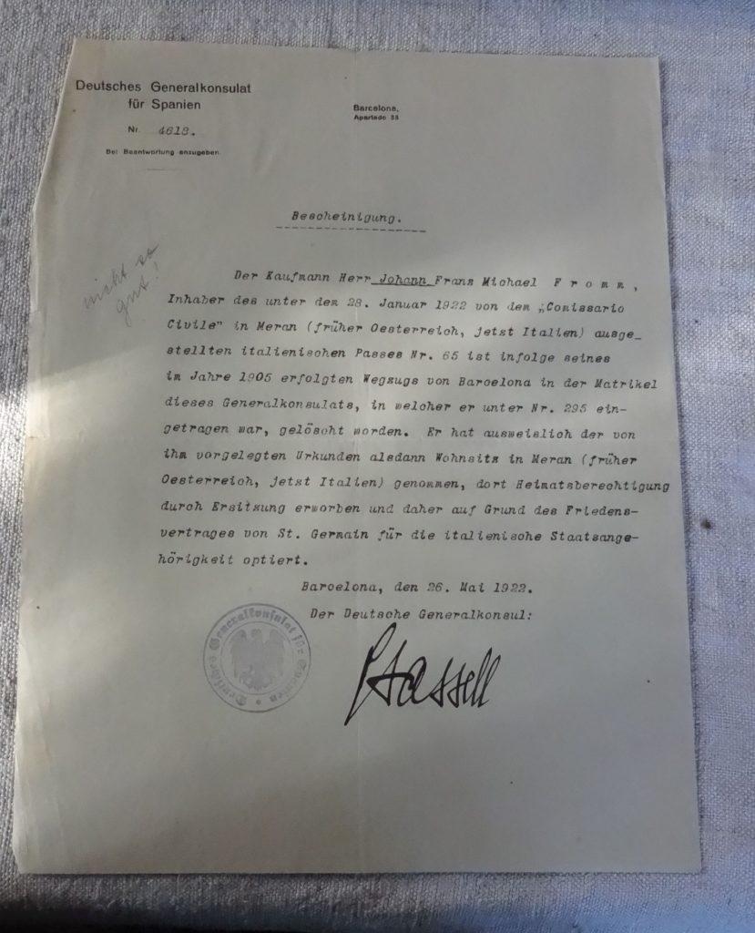 Bestätigung des Generalkonsulats