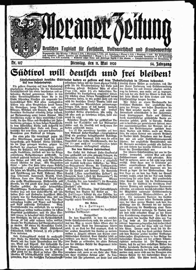 Zeitungstitelblatt 11. Mai 1921