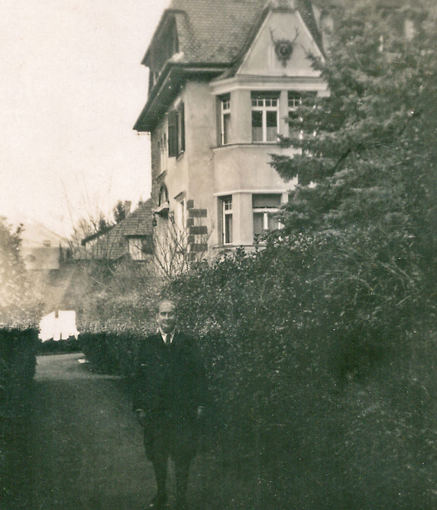 Paco in front of the Villa Freischütz (c. 1930)