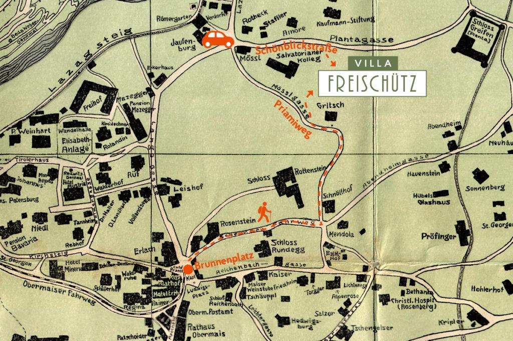 Directions to Villa Freischütz on old map of Merano