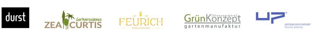 Sponsoren Logos: durst-group, Gartenresidence Zea Curtis, Feurich, Planungsbüro Grünkonzept, Unterweger & Partner - Private Banking