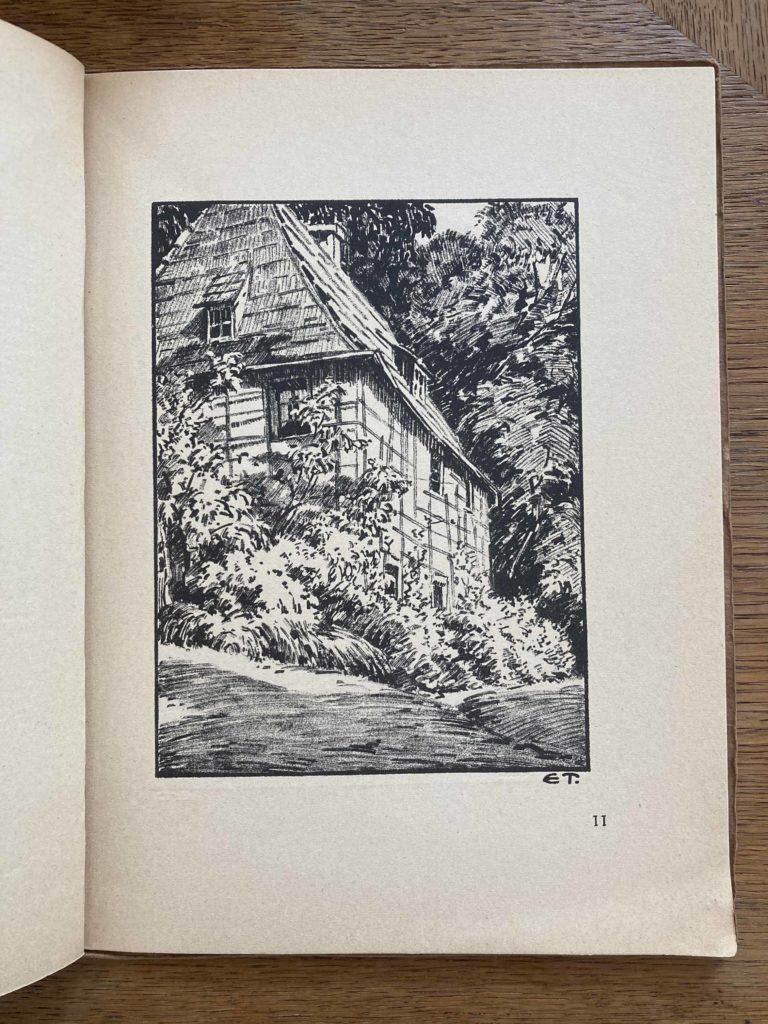 Zeichnung mit Goethes Gartenhaus